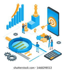 Seo strategy concept. Images of children and miniature people. Magnifying glass, gears, chess, calculator, mobile phone and graphs. Isometric vector illustration