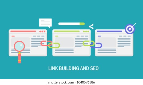 Seo strategy - Link building service - link business flat vector concept with marketing icons