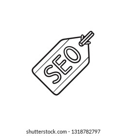 SEO tag hand drawn outline doodle icon. Meta tags, search optimization and SEO marketing, SEO keyword concept. Vector sketch illustration for print, web, mobile and infographics on white background.