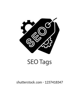 SEO tags glyph icon. Meta tags. Search optimization. SEO marketing. Label and cogwheels. Silhouette symbol. Negative space. Vector isolated illustration