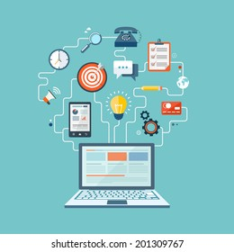 SEO technology flat illustration with laptop and icons. eps10