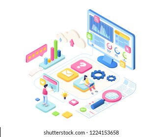 SEO vector isometric background for landing page. Optimization process of internet search results for better visibility of website. Concept illustration with icons and people doing analysis of data