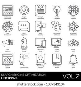 SEO & web line icons. Landing page optimization, online presence, viral marketing, responsive design, backlink building, PR, bookmarking, remarketing, engagement, collaboration, consultancy, marketing