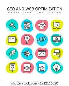 SEO AND WEB OPTIMIZATION LINE ICON DESIGN