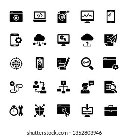 Seo and web solid icons pack is here having advantageous vectors. Fix these icons and use as per your project needs. Don't waste time just grab and use in associated department.