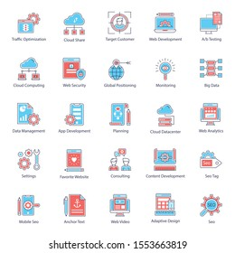 Seo website flat icons, which can tremendously improve the look and essence of your project. Grab this set and enjoy using these editable and cool vectors in related projects.