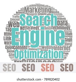 SEO Word Cloud Concept. Searching Engine Optimizing Vector Illustration