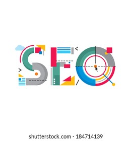 SEO word - Search Engine Optimization - creative vector sign illustration. Flat style logo design.