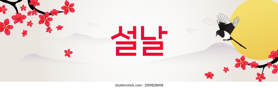 "Seollal festival banner vector illustration. Magpie with plum blossom branches. Korean Translation: "" Seollal : Korean lunar new year """