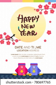 """Seollal (Korean lunar new year ) poster vector illustration. Moon, Plum blossom and Sebaetdon (lucky bag) on traditional Korean roof. The words on bag is """" well-being """""""