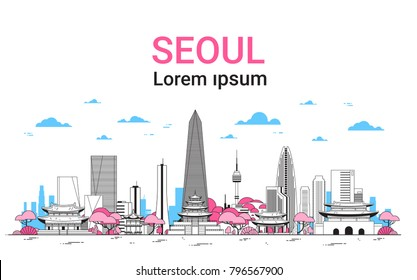 Seoul City Background Skyline South Korea View With Skyscrapers And Famous Landmarks Template Banner With Copy Space Thin Line Vector Illustration