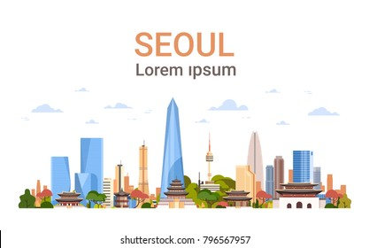 Seoul City Background Skyline South Korea View With Skyscrapers And Famous Landmarks Template Banner With Copy Space Vector Illustration