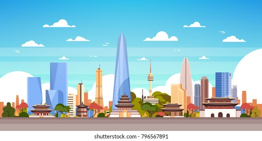 Seoul City Background South Korea Skyline View With Skyscrapers And Famous Landmarks Vector Illustration
