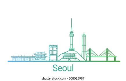 Seoul city colored gradient line. All Seoul buildings - customizable objects with opacity mask, so you can simple change composition and background fill. Line art.