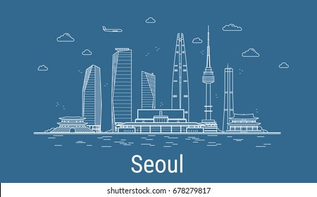 Seoul city, Line Art Vector illustration with all famous towers. Linear Banner with Showplace. Composition of Modern buildings, Cityscape. Seoul buildings set