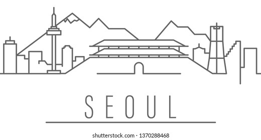 Seoul city outline icon. Elements of cities and countries illustration icon. Signs and symbols can be used for web, logo, mobile app, UI, UX on white background