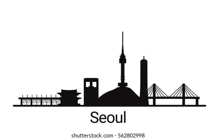 Seoul city outline skyline. All Seoul buildings - customizable objects, so you can simple change skyline composition. Minimal design.