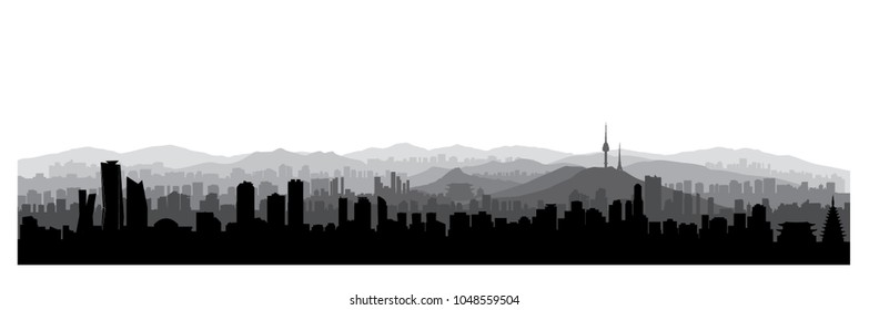 Seoul city skyline view, South Republic of Korea. Korean urban panoramic view. Cityscape with famous building silhouette