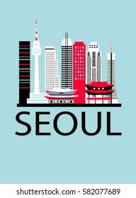 Seoul city travel background. Vector