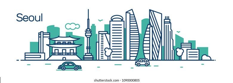 Seoul City. Vector illustration