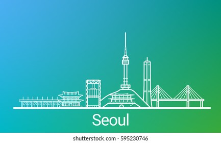 Seoul city white line on colorful background. All Seoul buildings - customizable objects with opacity mask, so you can simple change composition and background. Line art.