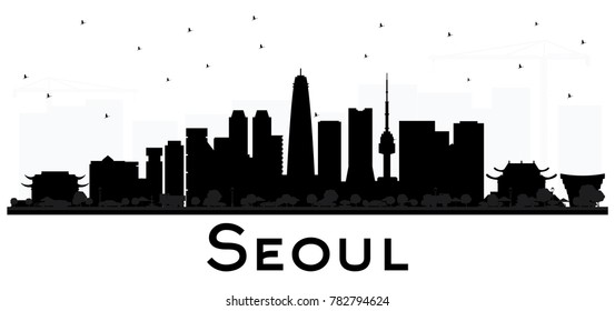 Seoul Korea City skyline black and white silhouette with Reflections. Vector illustration. Business travel concept. Seoul Cityscape with landmarks.