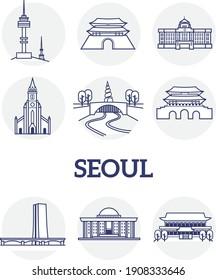 Seoul Korea landmark line icon set