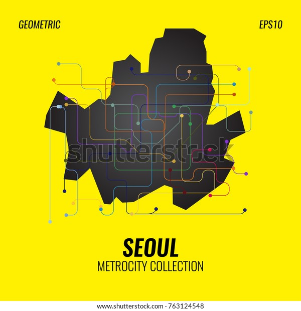 Seoul Subway Map Poster.Seoul Metro Map City Subway Graphic Stock Vector Royalty Free