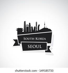 Seoul ribbon banner - vector illustration