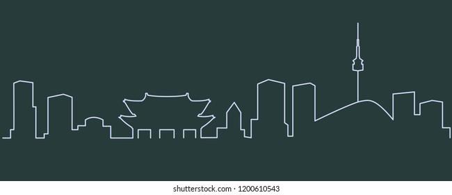 Seoul Single Line Skyline