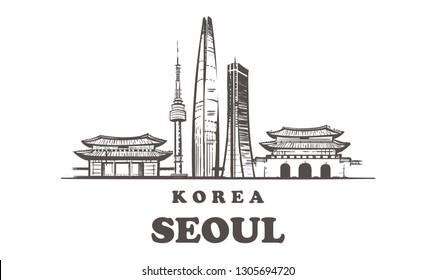 Seoul sketch skyline. Korea, Seoul hand drawn vector illustration. Isolated on white background.