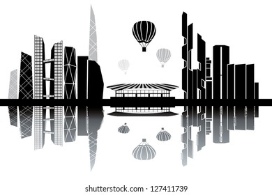 Seoul skyline - black and white vector illustration