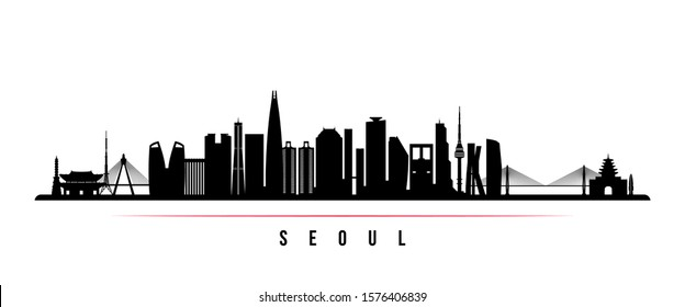 Seoul skyline horizontal banner. Black and white silhouette of Seoul, South Korea. Vector template for your design.