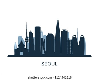Seoul skyline, monochrome silhouette. Vector illustration.