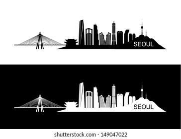 Seoul skyline - vector illustration