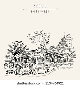 Seoul, South Korea, Asia. Old traditional Korean hanok house with pots and National Museum of Korea. Retro style travel sketch. Vintage hand-drawn touristic postcard, poster, book illustration. Vector
