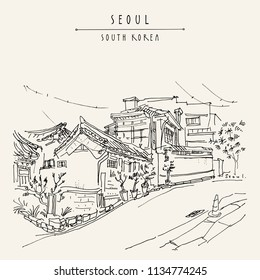 Seoul, South Korea, Asia. Traditional Korean Hanok houses. Hanok Bukchon. Hand drawing in retro style. Travel sketch. Vintage touristic postcard, poster or book illustration in vector