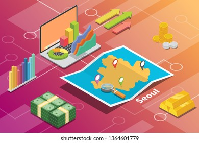 seoul south korea city isometric financial economy condition concept for describe cities growth expand - vector illustration