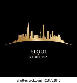Seoul South Korea city skyline silhouette. Vector illustration