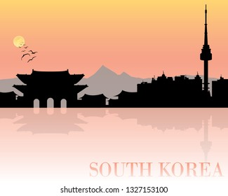 Seoul South Korea skyline silhouette. Vector illustration