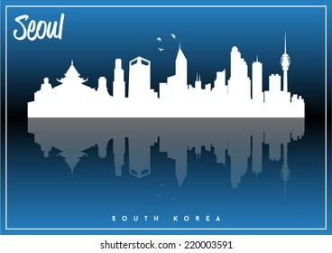 Seoul, South Korea, skyline silhouette vector design on parliament blue and black background.