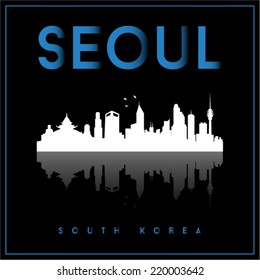 Seoul, South Korea, skyline silhouette vector design on parliament blue and black background.