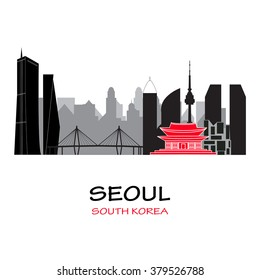 Seoul South Korea skyline. Vector illustration. Business travel and tourism concept with modern buildings. Image for presentation, banner, placard and web site.