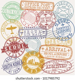 Seoul South Korea Stamp Vector Art Postal Passport Design badge Rubber Set.