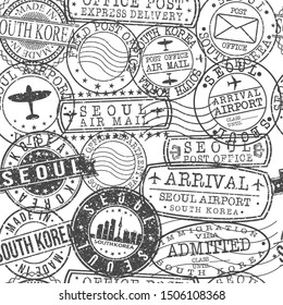 Seoul South Korea Stamps. City Stamp Vector Art. Postal Passport Travel. Design Set Pattern.