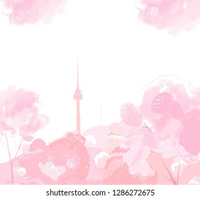 Seoul at spring, view of mountain Namsan tower. Cherry blossoming trees frame. Horizontal background