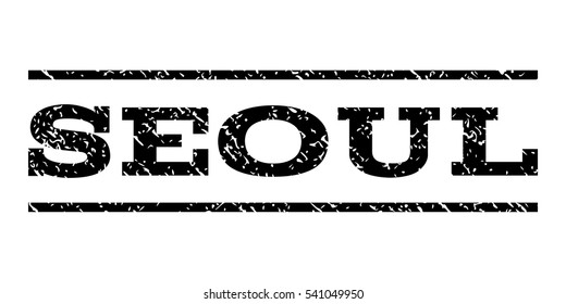 Seoul watermark stamp. Text caption between horizontal parallel lines with grunge design style. Rubber seal stamp with dirty texture. Vector black color ink imprint on a white background.