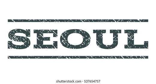 Seoul watermark stamp. Text tag between horizontal parallel lines with grunge design style. Rubber seal stamp with dirty texture. Vector soft blue color ink imprint on a white background.