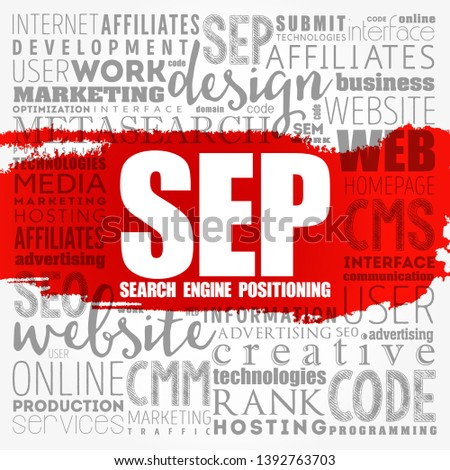 SEP Search Engine Positioning Word Cloud Stock Vector