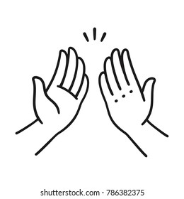 Sep of two hands clapping in high five gesture. Simple cartoon style vector illustration.